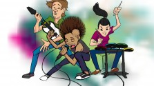 Alex and friends rocking out to Rock Band!